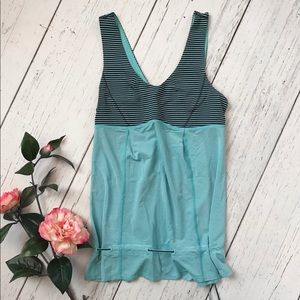 Lululemon Blue and Navy Striped Tank Top